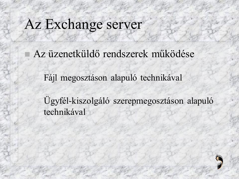 Az Exchange server n Az üzenetküldő rendszerek működése – Fájl megosztáson alapuló technikával – Ügyfél-kiszolgáló szerepmegosztáson alapuló technikával