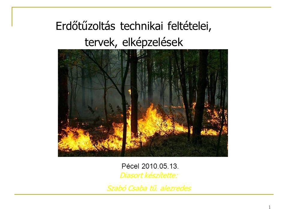 1 Erdőtűzoltás technikai feltételei, tervek, elképzelések Diasort készítette: Szabó Csaba tű. alezredes Pécel 2010.05.13.