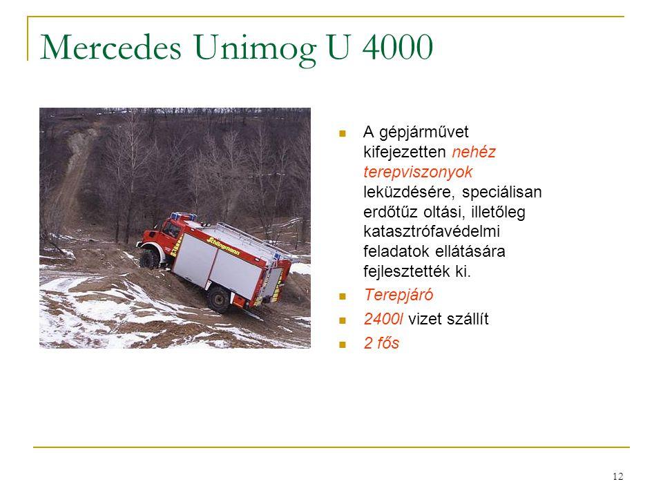 12 Mercedes Unimog U 4000  A gépjárművet kifejezetten nehéz terepviszonyok leküzdésére, speciálisan erdőtűz oltási, illetőleg katasztrófavédelmi fela