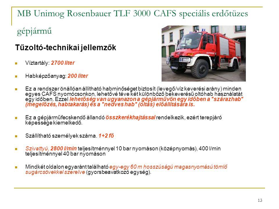 13 MB Unimog Rosenbauer TLF 3000 CAFS speciális erdőtüzes gépjármű Tűzoltó-technikai jellemzők  Víztartály: 2700 liter  Habképzőanyag: 200 liter  E