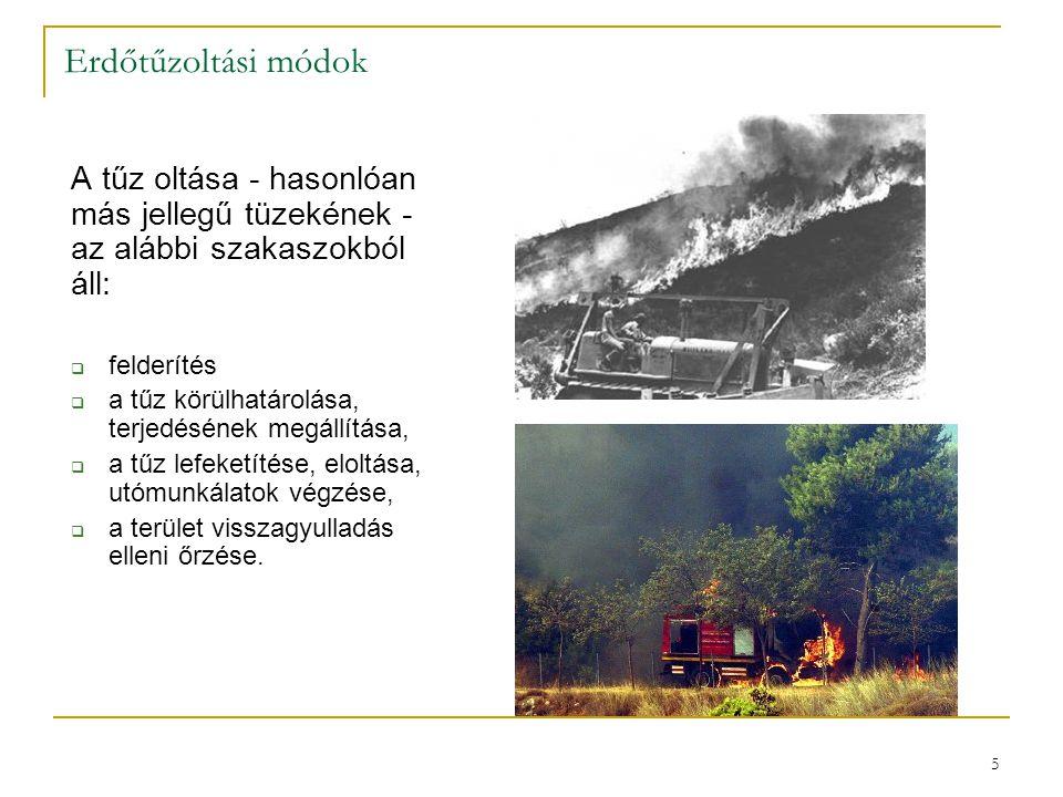 6  Felderítés  A tűz peremének oltása kézi szerszámokkal;  A tűz peremének letakarása;  A tűz továbbterjedésének irányából az éghető anyagok eltávolítása, nyiladékok, védősávok, árkok létesítése;  A tűz peremének oltása vízzel;  A tűz oltása repülőgépről, helikopterről vízpermettel, vízbombával;  A tűz oltása mesterséges hatások közé szorítással (ellentűz, robbantásos módszer, fadöntés).