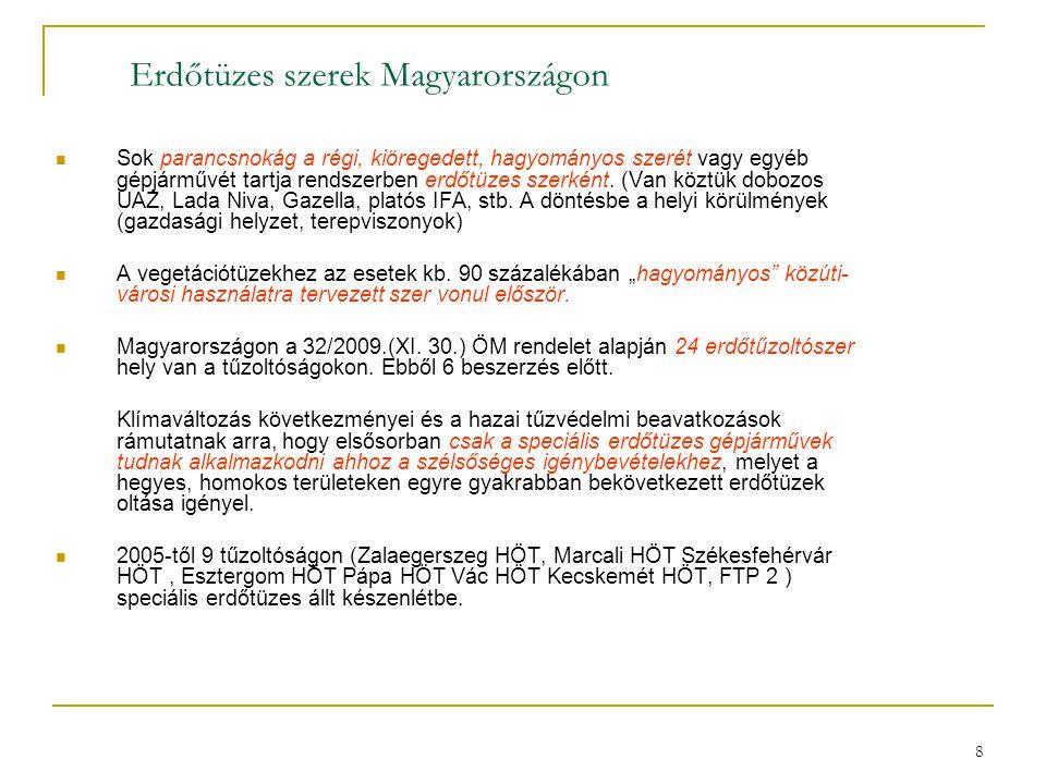 8 Erdőtüzes szerek Magyarországon  Sok parancsnokág a régi, kiöregedett, hagyományos szerét vagy egyéb gépjárművét tartja rendszerben erdőtüzes szerk