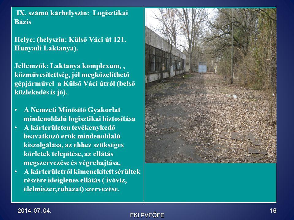 IX. számú kárhelyszín: Logisztikai Bázis Helye: (helyszín: Külső Váci út 121. Hunyadi Laktanya). Jellemzők: Laktanya komplexum,, közművesítettség, jól