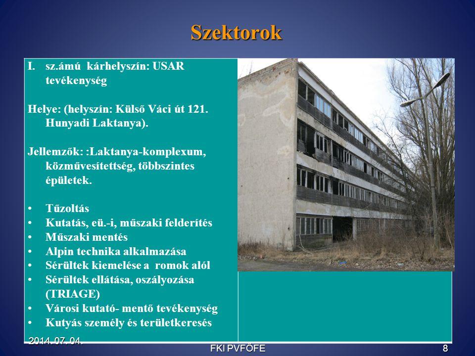 Szektorok I.sz.ámú kárhelyszín: USAR tevékenység Helye: (helyszín: Külső Váci út 121. Hunyadi Laktanya). Jellemzők: :Laktanya-komplexum, közművesített