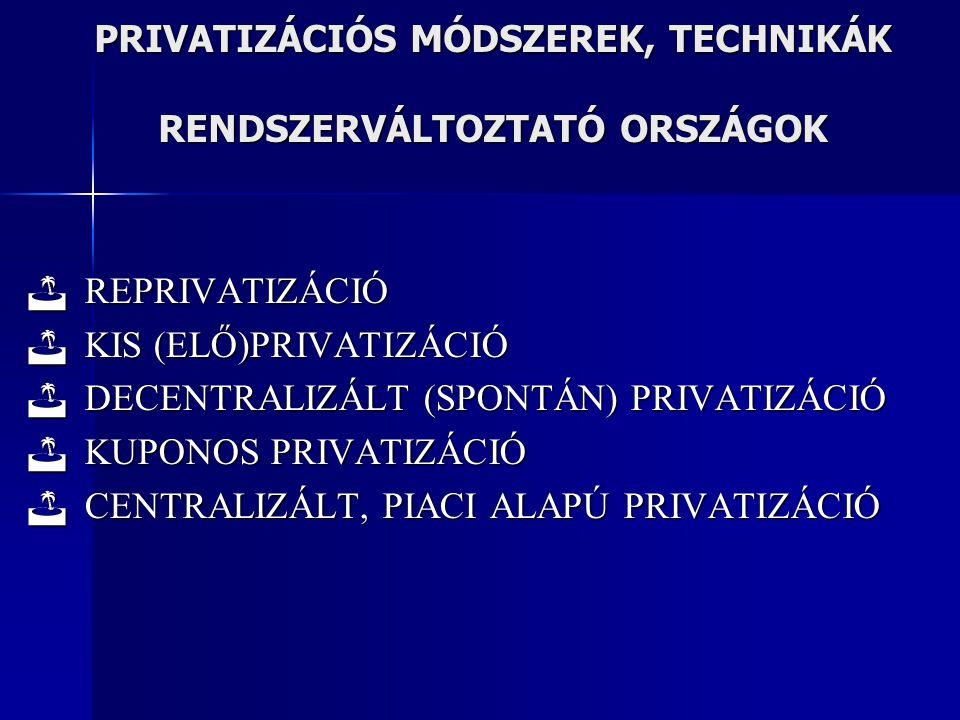 PRIVATIZÁCIÓS MÓDSZEREK, TECHNIKÁK RENDSZERVÁLTOZTATÓ ORSZÁGOK  REPRIVATIZÁCIÓ  KIS (ELŐ)PRIVATIZÁCIÓ  DECENTRALIZÁLT (SPONTÁN) PRIVATIZÁCIÓ  KUPO