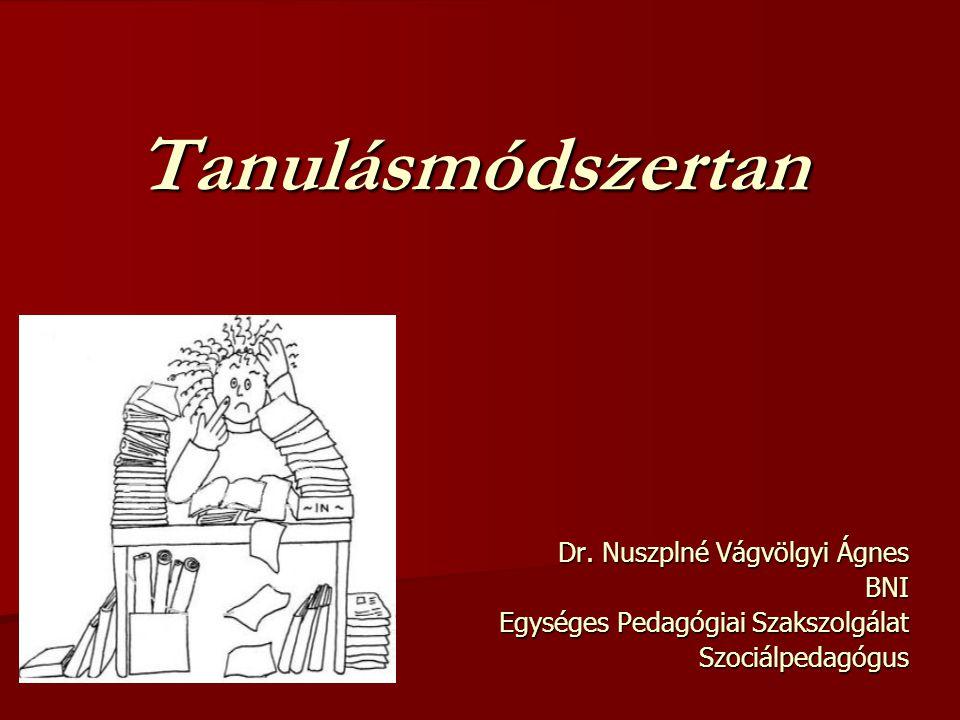 Tanulásmódszertan Dr. Nuszplné Vágvölgyi Ágnes BNI Egységes Pedagógiai Szakszolgálat Szociálpedagógus