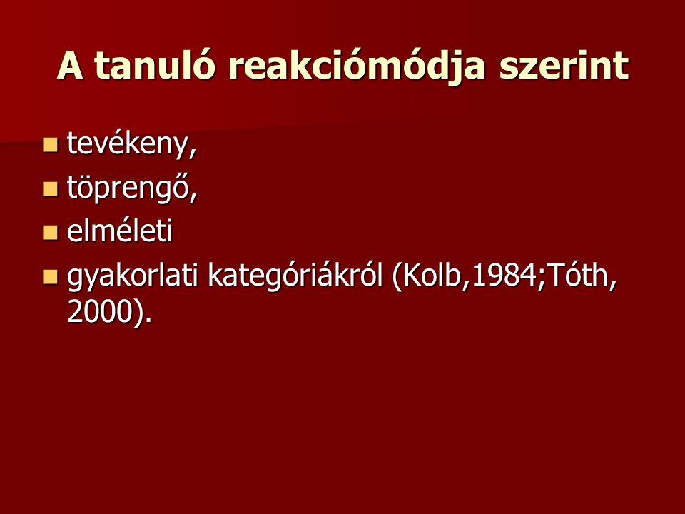 A tanuló reakciómódja szerint  tevékeny,  töprengő,  elméleti  gyakorlati kategóriákról (Kolb,1984;Tóth, 2000).