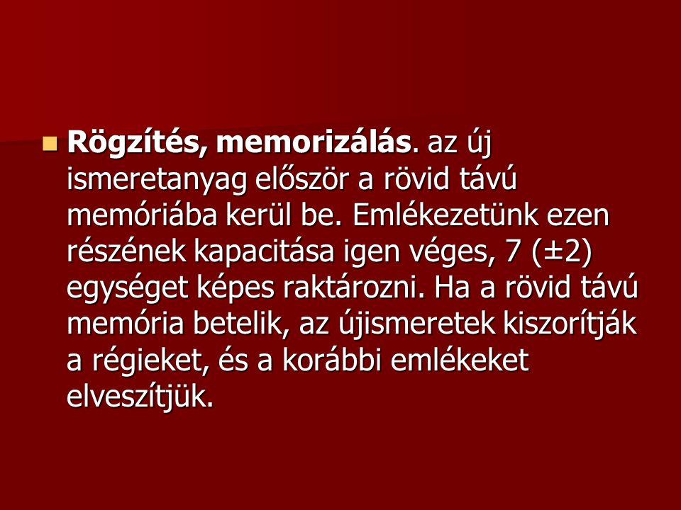  Rögzítés, memorizálás. az új ismeretanyag először a rövid távú memóriába kerül be. Emlékezetünk ezen részének kapacitása igen véges, 7 (±2) egységet