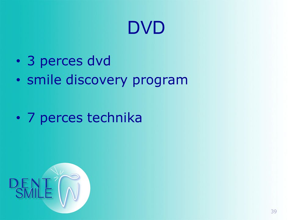 39 DVD • 3 perces dvd • smile discovery program • 7 perces technika