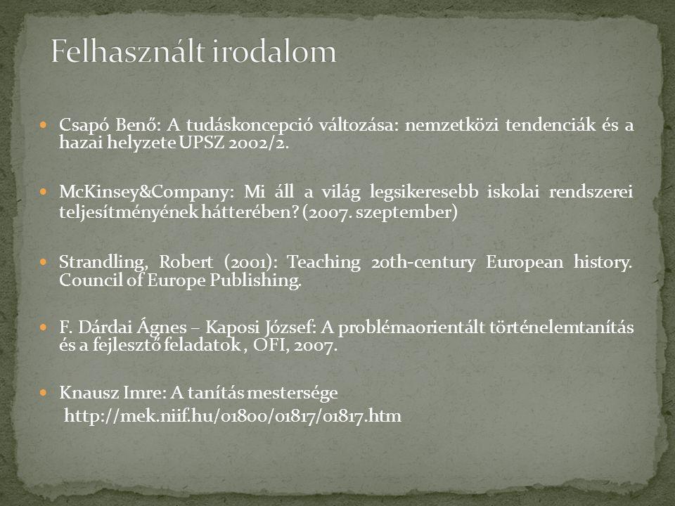  Csapó Benő: A tudáskoncepció változása: nemzetközi tendenciák és a hazai helyzete UPSZ 2002/2.