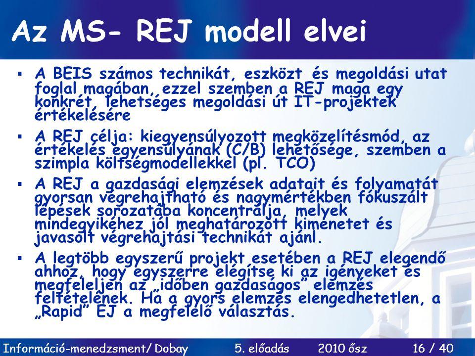 Információ-menedzsment/ Dobay 5. előadás 2010 ősz 16 / 40 Az MS- REJ modell elvei  A BEIS számos technikát, eszközt és megoldási utat foglal magában,