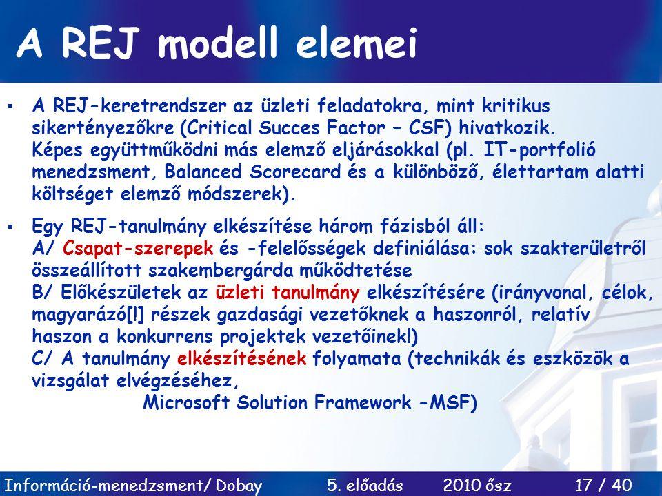 Információ-menedzsment/ Dobay 5. előadás 2010 ősz 17 / 40 A REJ modell elemei  A REJ-keretrendszer az üzleti feladatokra, mint kritikus sikertényezők