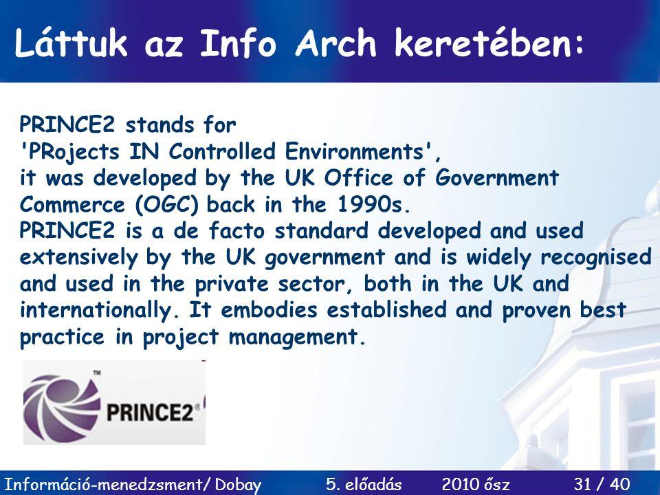 Információ-menedzsment/ Dobay 5. előadás 2010 ősz 31 / 40 Láttuk az Info Arch keretében: PRINCE2 stands for 'PRojects IN Controlled Environments', it