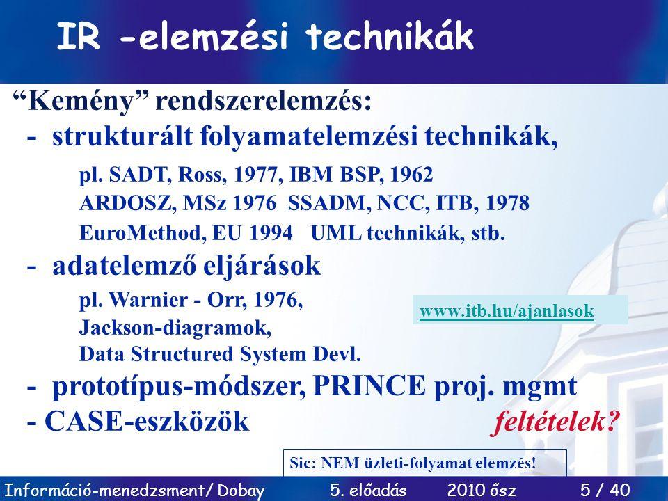 """Információ-menedzsment/ Dobay 5. előadás 2010 ősz 5 / 40 IR -elemzési technikák """"Kemény"""" rendszerelemzés: - strukturált folyamatelemzési technikák, pl"""