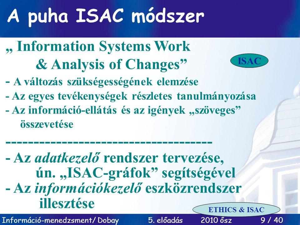"""Információ-menedzsment/ Dobay 5. előadás 2010 ősz 9 / 40 A puha ISAC módszer """" Information Systems Work & Analysis of Changes"""" - A változás szükségess"""
