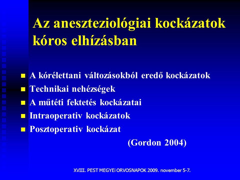 XVIII. PEST MEGYEi ORVOSNAPOK 2009. november 5-7. Az aneszteziológiai kockázatok kóros elhízásban n n A kórélettani változásokból eredő kockázatok n n