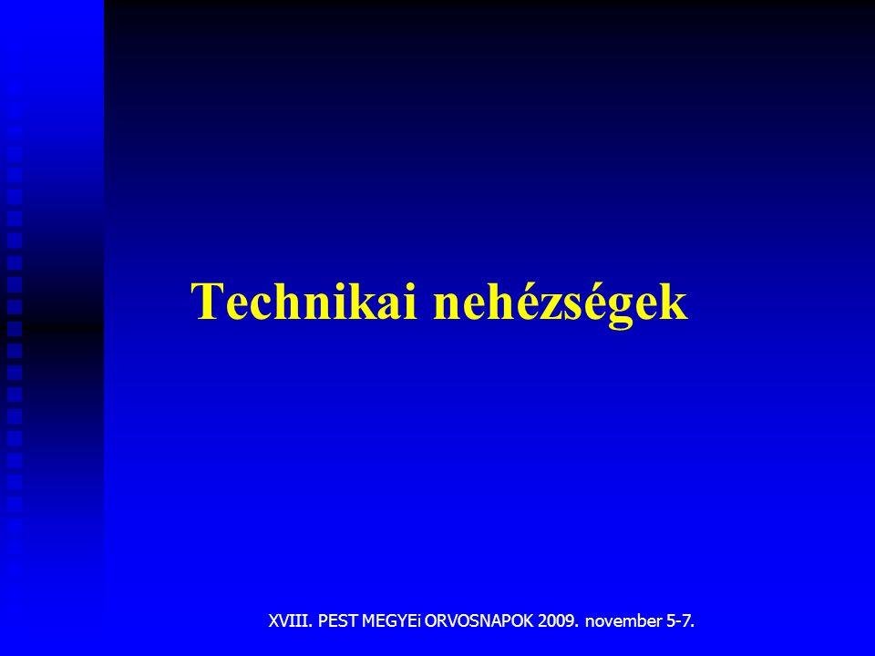 XVIII. PEST MEGYEi ORVOSNAPOK 2009. november 5-7. Technikai nehézségek