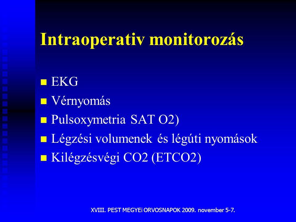 XVIII. PEST MEGYEi ORVOSNAPOK 2009. november 5-7. Intraoperativ monitorozás n n EKG n n Vérnyomás n n Pulsoxymetria SAT O2) n n Légzési volumenek és l