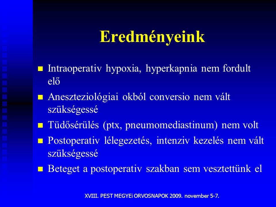 XVIII. PEST MEGYEi ORVOSNAPOK 2009. november 5-7. Eredményeink n n Intraoperativ hypoxia, hyperkapnia nem fordult elő n n Aneszteziológiai okból conve