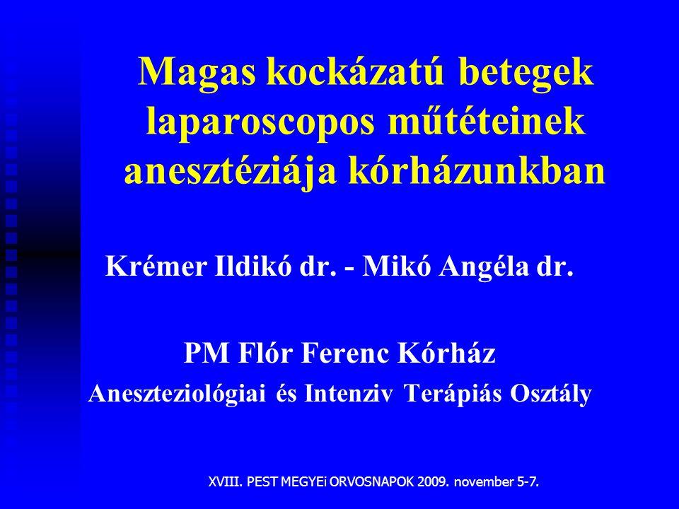 Magas kockázatú betegek laparoscopos műtéteinek anesztéziája kórházunkban Krémer Ildikó dr. - Mikó Angéla dr. PM Flór Ferenc Kórház Aneszteziológiai é