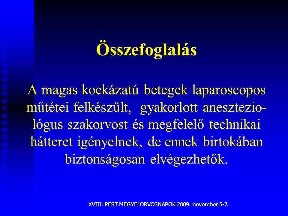 XVIII. PEST MEGYEi ORVOSNAPOK 2009. november 5-7. Összefoglalás A magas kockázatú betegek laparoscopos műtétei felkészült, gyakorlott anesztezio- lógu