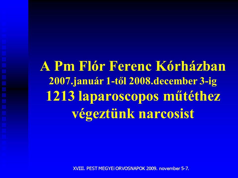 XVIII. PEST MEGYEi ORVOSNAPOK 2009. november 5-7. A Pm Flór Ferenc Kórházban 2007.január 1-től 2008.december 3-ig 1213 laparoscopos műtéthez végeztünk