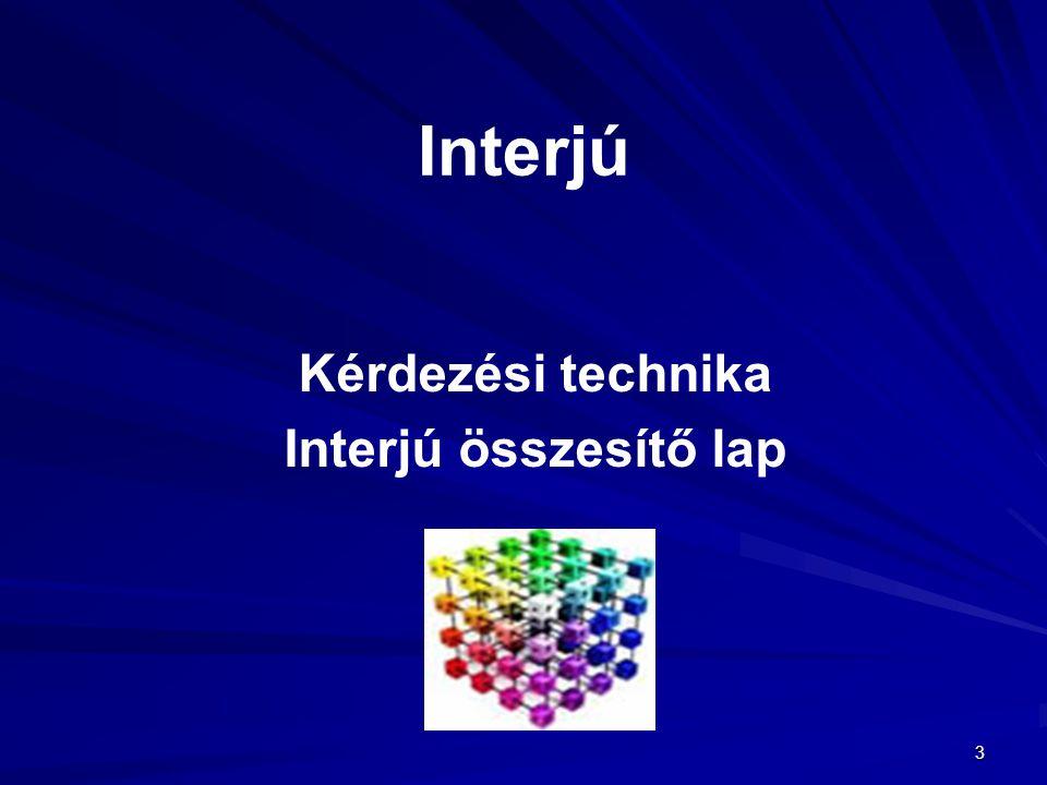 3 Interjú Kérdezési technika Interjú összesítő lap