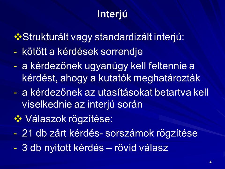 4 Interjú   Strukturált vagy standardizált interjú: - -kötött a kérdések sorrendje - -a kérdezőnek ugyanúgy kell feltennie a kérdést, ahogy a kutató