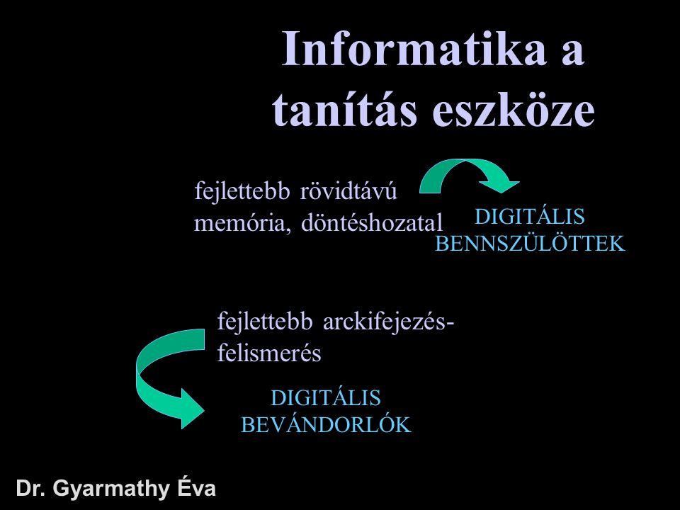 Informatika a tanítás eszköze Dr. Gyarmathy Éva DIGITÁLIS BEVÁNDORLÓK fejlettebb rövidtávú memória, döntéshozatal fejlettebb arckifejezés- felismerés
