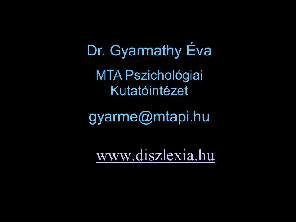 www.diszlexia.hu Dr. Gyarmathy Éva MTA Pszichológiai Kutatóintézet gyarme@mtapi.hu