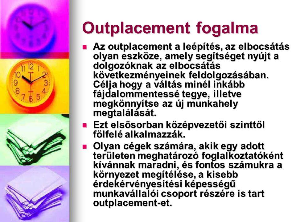 Outplacement előnye a vállalat számára  Csökkenti a fluktuációt  Javítja a munkahelyi légkört  Javítja a vezetőség, és a cég imázsát  Segít a munkaügyi perek elkerülésében