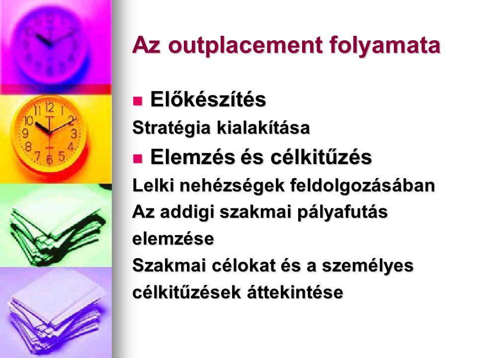Az outplacement folyamata  Előkészítés Stratégia kialakítása  Elemzés és célkitűzés Lelki nehézségek feldolgozásában Az addigi szakmai pályafutás el