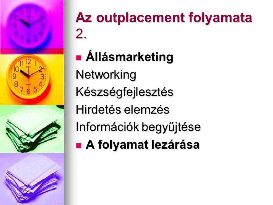 Az outplacement folyamata 2.  Állásmarketing NetworkingKészségfejlesztés Hirdetés elemzés Információk begyűjtése  A folyamat lezárása