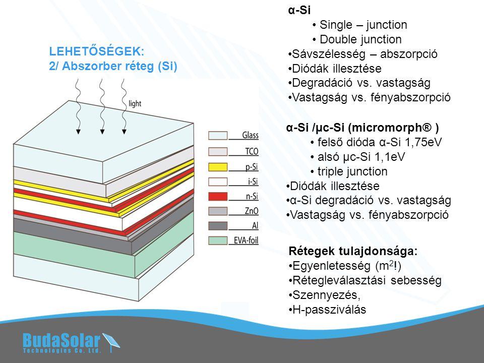 """NANOTECHNOLÓGIAI ÍGÉRETEK Sno 2 :F ZnO NANOSTRUKTURÁLT TCO Szórt fény arányának növelése → megnövelt úthossz a Si-ban, → vékonyabb Si réteg, α-Si és α-Si/µ-Si-nál egyaránt Technológia: SnO 2 :multistep CVD+ plazmás visszamarás ZnO: - """"litográfia +hidrothermal dep v."""