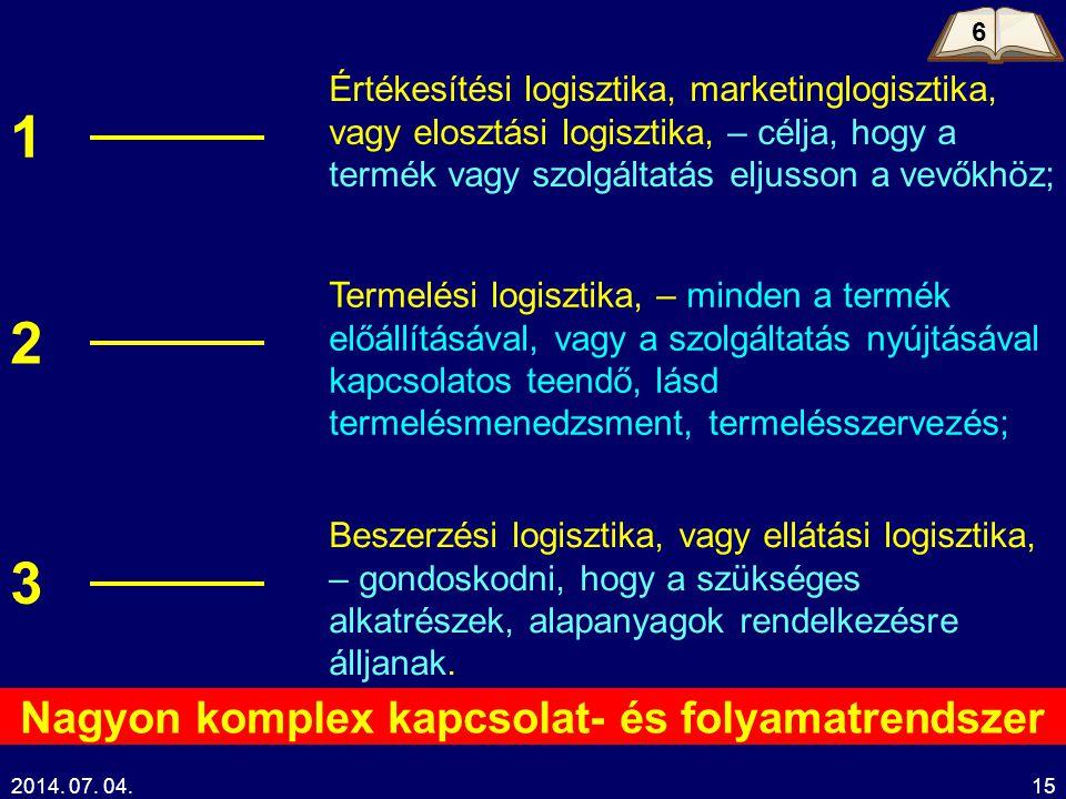 2014. 07. 04.15 Értékesítési logisztika, marketinglogisztika, vagy elosztási logisztika, – célja, hogy a termék vagy szolgáltatás eljusson a vevőkhöz;