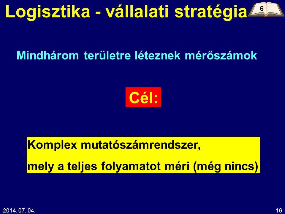 2014. 07. 04.16 Logisztika - vállalati stratégia Cél: Komplex mutatószámrendszer, mely a teljes folyamatot méri (még nincs) Mindhárom területre létezn