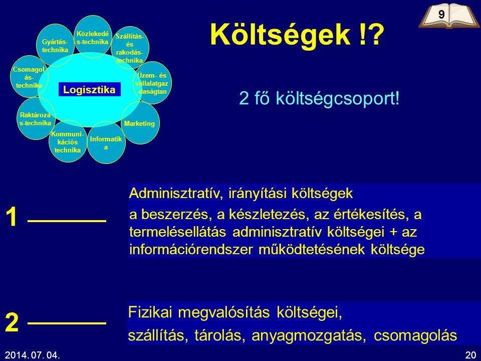 2014. 07. 04.20 2 fő költségcsoport! Adminisztratív, irányítási költségek a beszerzés, a készletezés, az értékesítés, a termelésellátás adminisztratív