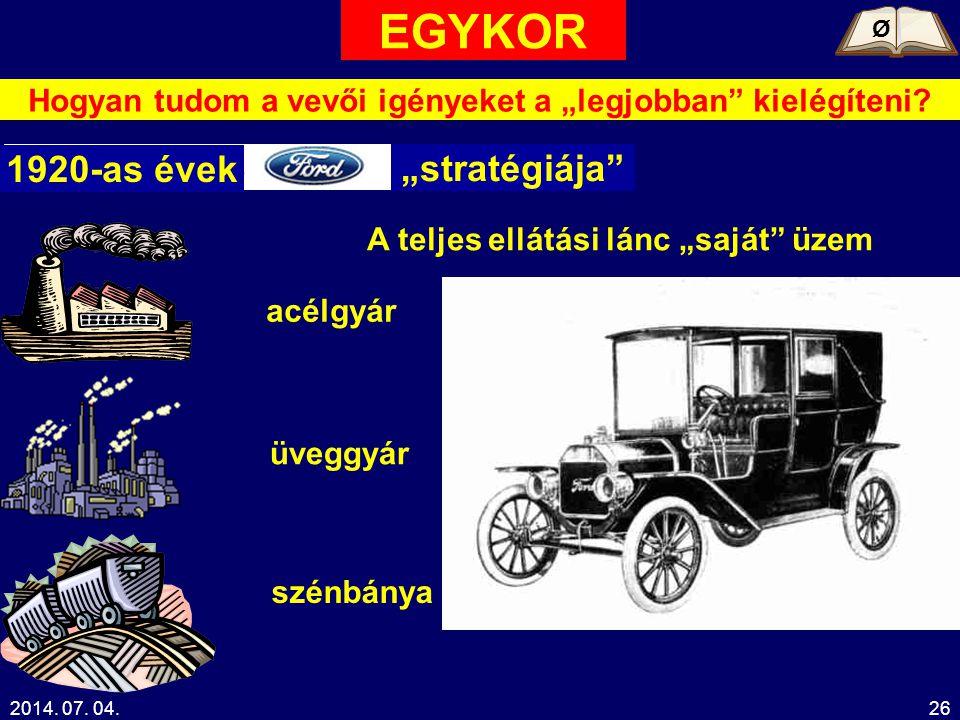 """2014. 07. 04.26 Hogyan tudom a vevői igényeket a """"legjobban"""" kielégíteni? Ø 1920-as évek """"stratégiája"""" A teljes ellátási lánc """"saját"""" üzem acélgyár üv"""