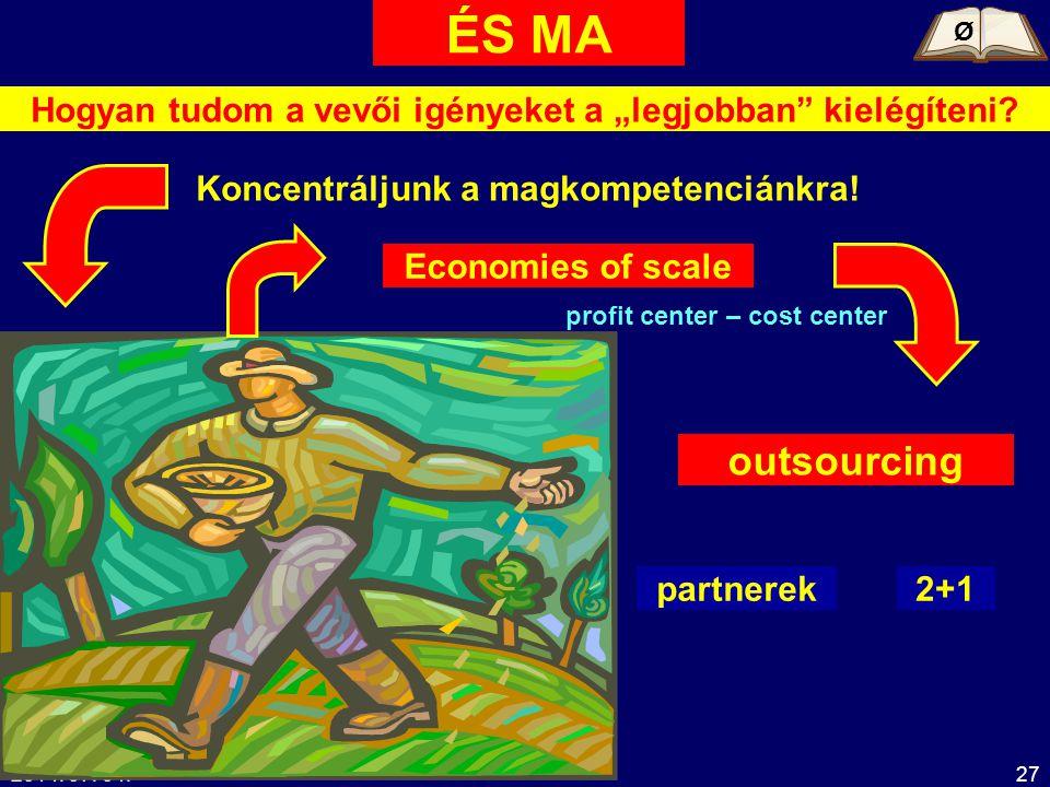"""2014. 07. 04.27 Hogyan tudom a vevői igényeket a """"legjobban"""" kielégíteni? ÉS MA Koncentráljunk a magkompetenciánkra! Economies of scale outsourcing pa"""