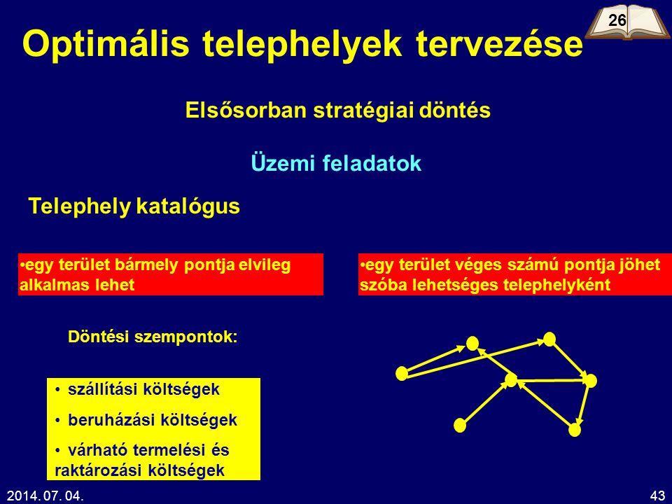 2014. 07. 04.43 Optimális telephelyek tervezése Elsősorban stratégiai döntés Üzemi feladatok •egy terület bármely pontja elvileg alkalmas lehet •egy t
