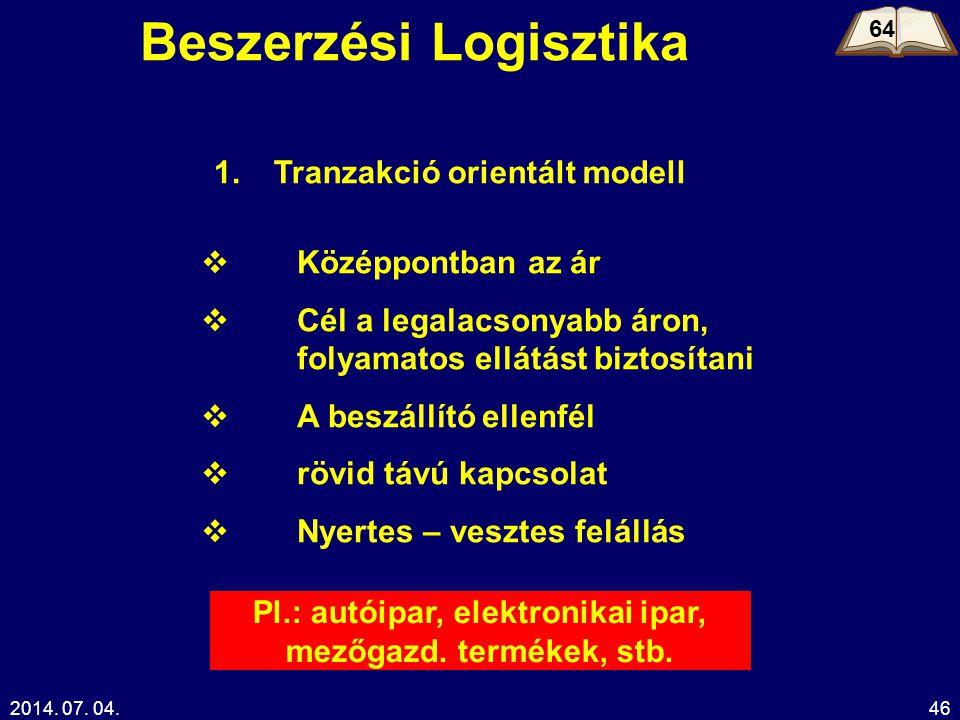 2014. 07. 04.46 Beszerzési Logisztika 64 Tranzakció orientált modell  Középpontban az ár  Cél a legalacsonyabb áron, folyamatos ellátást biztosítani