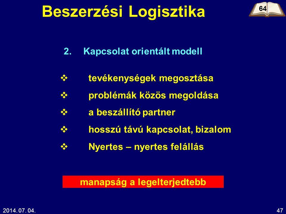 2014. 07. 04.47 Beszerzési Logisztika 64 Kapcsolat orientált modell  tevékenységek megosztása  problémák közös megoldása  a beszállító partner  ho