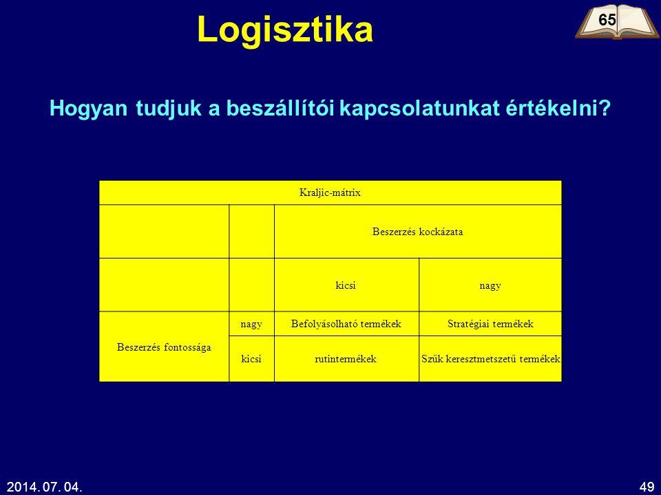 2014. 07. 04.49 Logisztika 65 Hogyan tudjuk a beszállítói kapcsolatunkat értékelni? Kraljic-mátrix Beszerzés kockázata kicsinagy Beszerzés fontossága