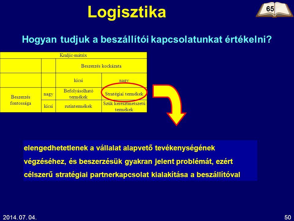 2014. 07. 04.50 Logisztika 65 Hogyan tudjuk a beszállítói kapcsolatunkat értékelni? Kraljic-mátrix Beszerzés kockázata kicsinagy Beszerzés fontossága