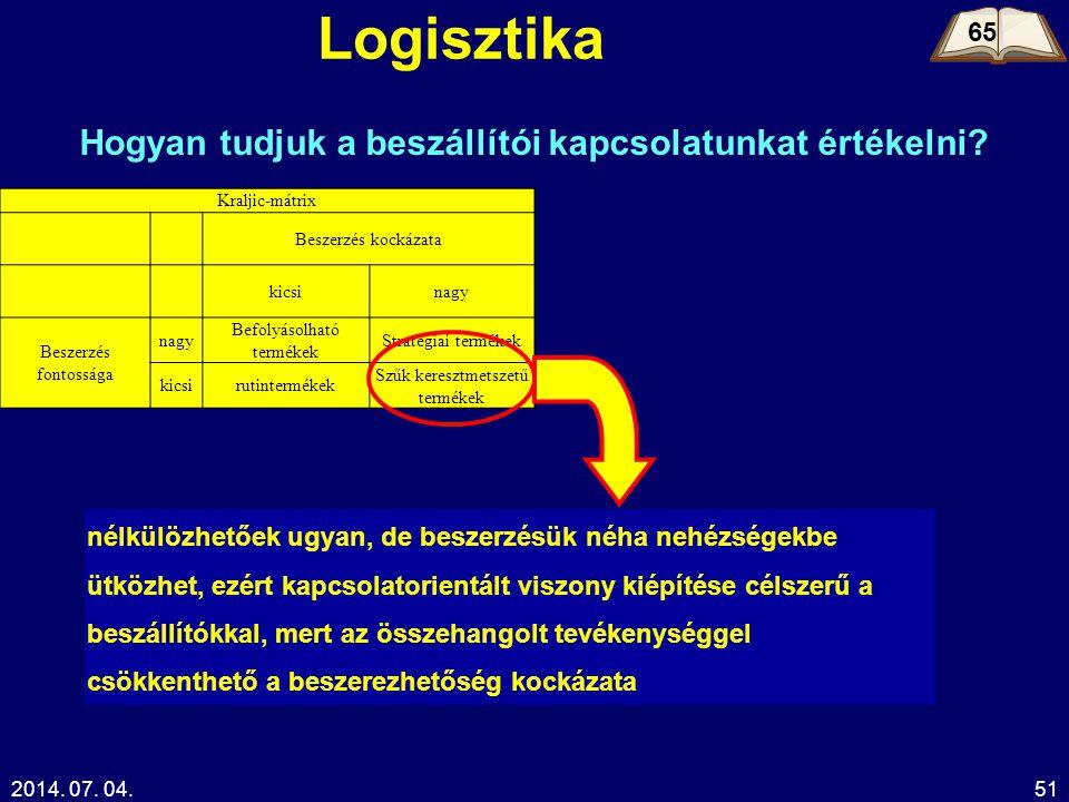 2014. 07. 04.51 Logisztika 65 Hogyan tudjuk a beszállítói kapcsolatunkat értékelni? Kraljic-mátrix Beszerzés kockázata kicsinagy Beszerzés fontossága