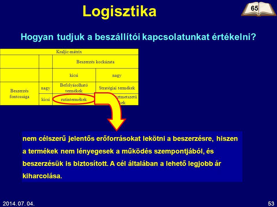 2014. 07. 04.53 Logisztika 65 Hogyan tudjuk a beszállítói kapcsolatunkat értékelni? Kraljic-mátrix Beszerzés kockázata kicsinagy Beszerzés fontossága
