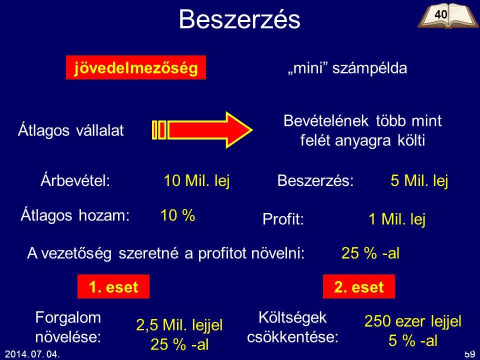 """2014. 07. 04.59 Beszerzés jövedelmezőség""""mini"""" számpélda Átlagos vállalat Bevételének több mint felét anyagra költi Árbevétel:10 Mil. lejBeszerzés:5 M"""
