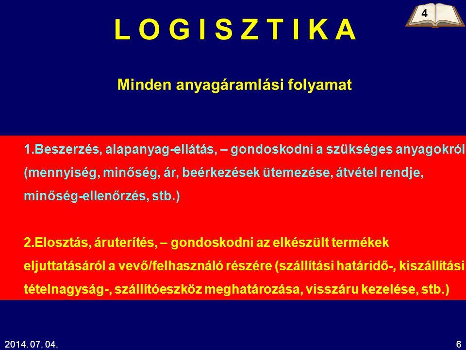 2014. 07. 04.6 L O G I S Z T I K A Minden anyagáramlási folyamat 1.Beszerzés, alapanyag-ellátás, – gondoskodni a szükséges anyagokról (mennyiség, minő