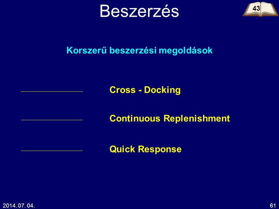 2014. 07. 04.61 Beszerzés Korszerű beszerzési megoldások Cross - Docking Continuous Replenishment Quick Response 43