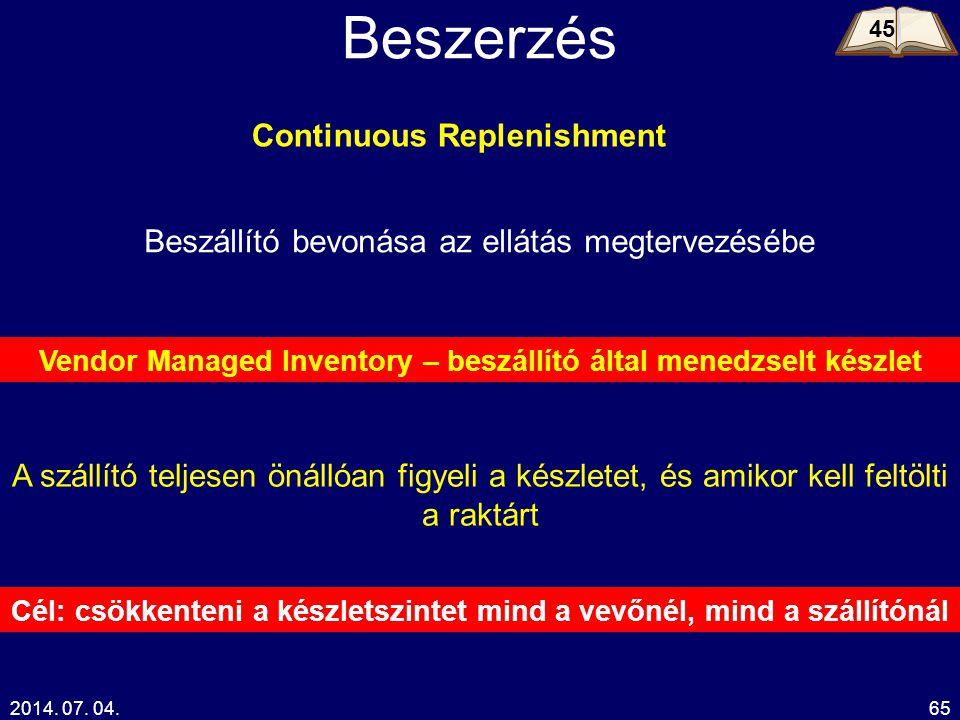 2014. 07. 04.65 Beszerzés Beszállító bevonása az ellátás megtervezésébe Continuous Replenishment Vendor Managed Inventory – beszállító által menedzsel